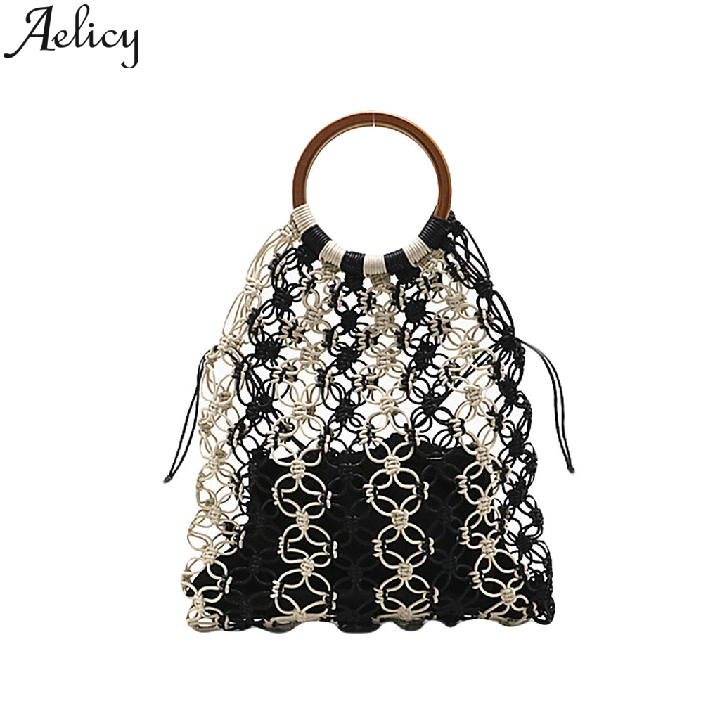 Aelicy Handbag Purse Tote Rectangular Hand-Woven Summer Ladies Straw Multifunctional-Bag