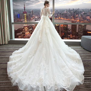 Image 4 - Fansmile Luxury Long Train Vestido De Noiva Lace Wedding Dress 2020 Customized Plus Size Wedding Gowns Bridal Dress FSM 490T