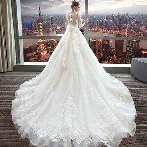 Image 4 - Fansmile luxe longue Train Vestido De Noiva dentelle robe De mariée 2020 personnalisé grande taille robes De mariée robe De mariée FSM 490T