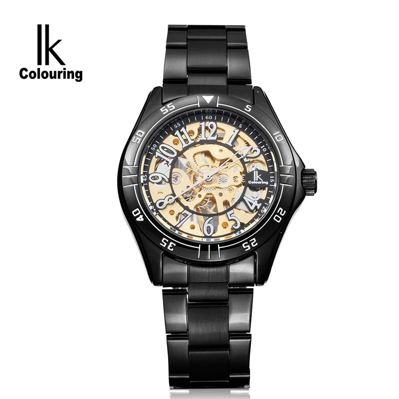 IK  colouring  Luxury Men's Montre Homme Skeleton Auto Mechanical Watch Wristwatch Gift Box