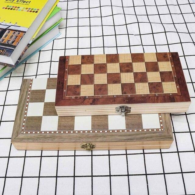 3 en 1 pliable en bois jeu d'échecs jeux de voyage échecs Backgammon dames jouet Chessmen divertissement jeu plateau jouets cadeau 6