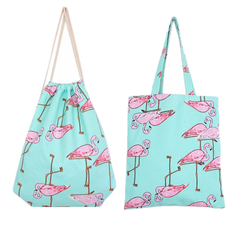 Chic Backpack 3D Printing Travel Softback Women Harajuku Flamingos Drawstring Bag Female Shopping Shoulder Bags Wholesale