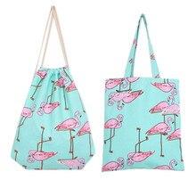 Шикарный рюкзак 3D печати путешествия softback Женщины Harajuku Фламинго Drawstring Сумка Женский торговый сумки на плечо оптовая продажа 20JE7