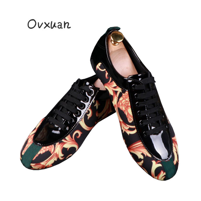 042d7af1f New Male Italian Printed Fashion Stripe Prom White Wedding Dress Loafers  Sneakers Shoes Men Luxury Brand 2019 Spring Men's Shoes