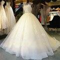 Vestido De Noiva 2016 Nuevo Escote Fuera Del Hombro Vestido de novia Con Apliques Rebordear Backless Elegante Una Línea de Novia vestido
