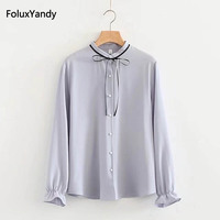 Pearl Buttons Chiffon Blouse New Spring Summer Casual Long Sleeve Women Blouse Shirt Plus Size 3