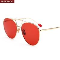 까꿍 레드 착 선글라스 여성 투명 렌즈 2018 큰 금속 프레임 핑크 노란색 남성 태양 안경 높은 품질 uv400
