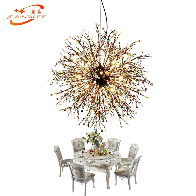 Modern LED Glass Chandelier Light Globe Pendant Hanging Lamp Dandelion Chandelier Lighting for Living Dining Room