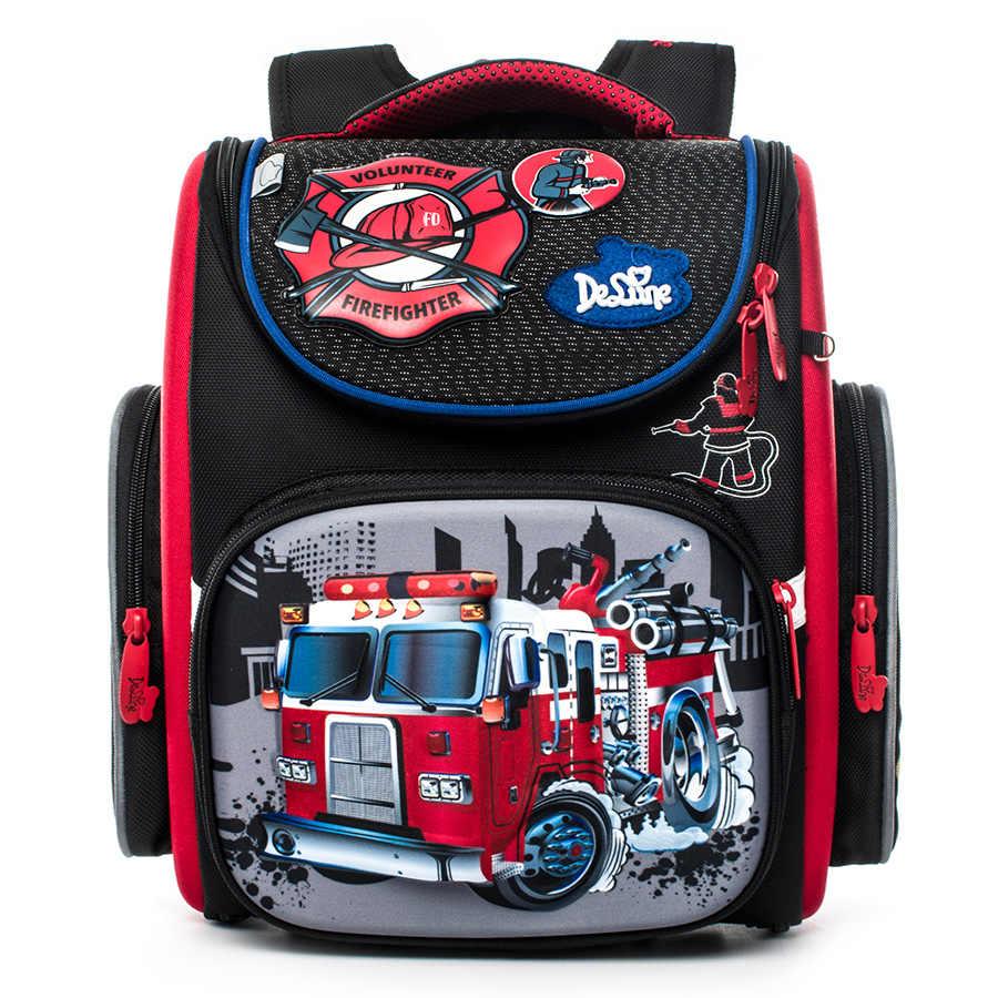 52374be6f689 Delune детские высокого качества 3D мультфильм автомобилей школьные сумки  для мальчиков и девочек Студенты Дети Путешествия