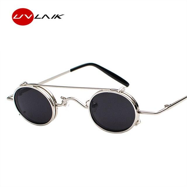 091f3d7ab3ada UVLAIK Steampunk Óculos De Sol Das Mulheres Do Metal Do Vintage Pequenos  Óculos Redondos Retro Removível
