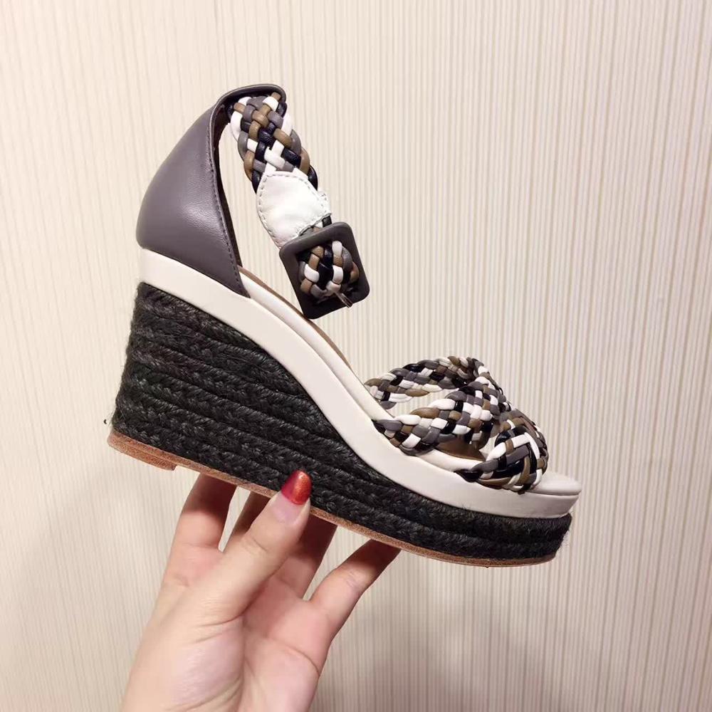 À la mode femmes arc en ciel plate forme tissage sandales boucle sangle sandales à talons compensés corde Design été sandales femme 2019 - 4