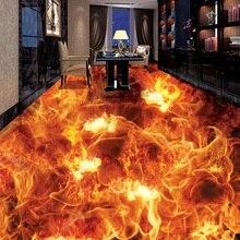 Stereoscopic Floor Mural Wallpaper Living Room Bedding Room Floor Decor Vinyl Wall Paper Burning Fire