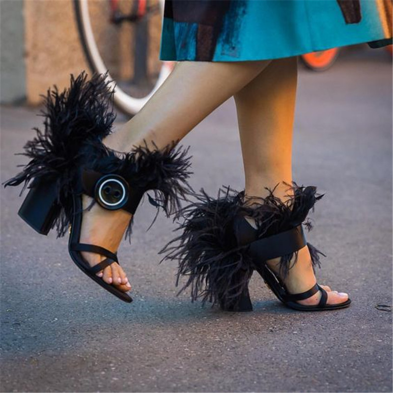 Designer Luxury Gladiator Feather Sandals Women Chunky Square High Heels Decor Fur Summer Sandalia  Buckle Peep Toe Shoes Pumps Designer Luxury Gladiator Feather Sandals Women Chunky Square High Heels Decor Fur Summer Sandalia  Buckle Peep Toe Shoes Pumps
