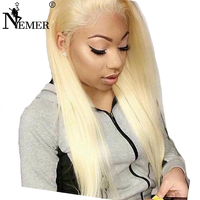 130% Density 613 Blonde Remy Human Hair Wigs with Baby Hair Nemer Brazilian Natural Hairline Full Lace Wigs with Bleached Knots