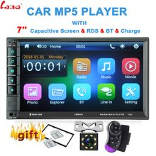 "Enlace espejo Android 7,0 2 Din coche radio autoradio 7 ""manos libres Bluetooth reproductor Multimedia/FM/TF/USB cámara retrovisor coche Radio(China)"