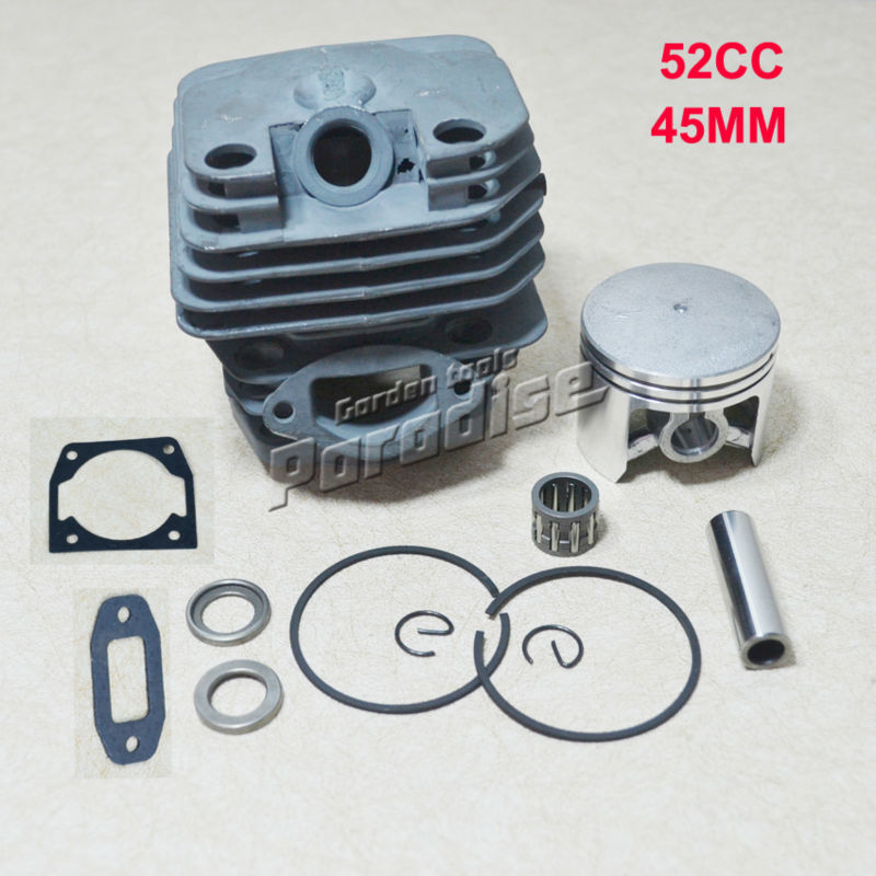 Cylider Bore 45MM 52CC 5200 Chinese Gasoline Chainsaw Cylinder Piston Kit with Muffler & Cylinder Gasket and Needle Bearing