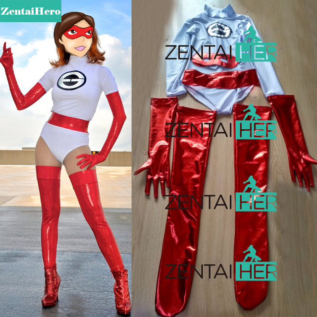free shipping dhl 2017 halloween the incredibles elastigirl superhero costumelycra catsuits red shiny
