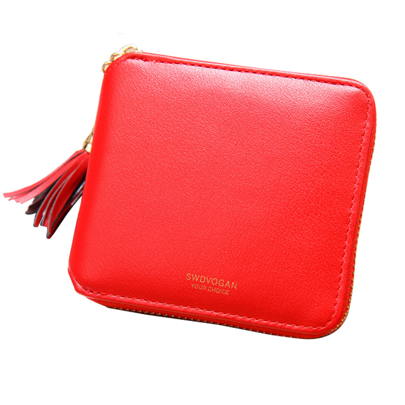 Women Wallet Leather Card Coin Holder Money Clip Short Clutch Luxury Designer Tassel Letter Small 2017 Dollar Price Female Purse women wallet leather card coin holder money clip short clutch three fold knitting small dollar price high quality female purse