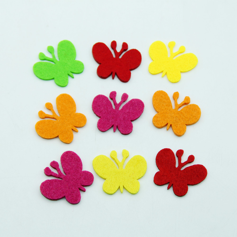 30pcs Cartoon Mini Butterfly Free Cutting Felt For Kids DIY Home Decor Room Kindergarten Wall Sticker Craft Handwork Accessories