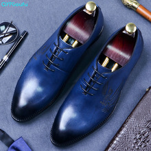 QYFCIOUFU New Brand Top Quality Men Pointed Toe Shoes Genuine Leather Luxury Mens Fashion Dress Shoes Lace Up Blue Wedding Shoes grimentin brand uk fashion mens dress shoes genuine leather black pointed toe luxury men wedding shoes male flats for business