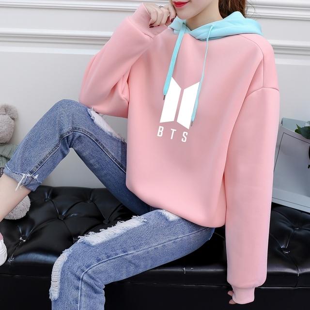 BTS Women Hoodies Pastel Color Block New Fashion Bangtan Boys Fans Kpop Sweatshirts Kawaii Moleton Pink Korean sudaderas