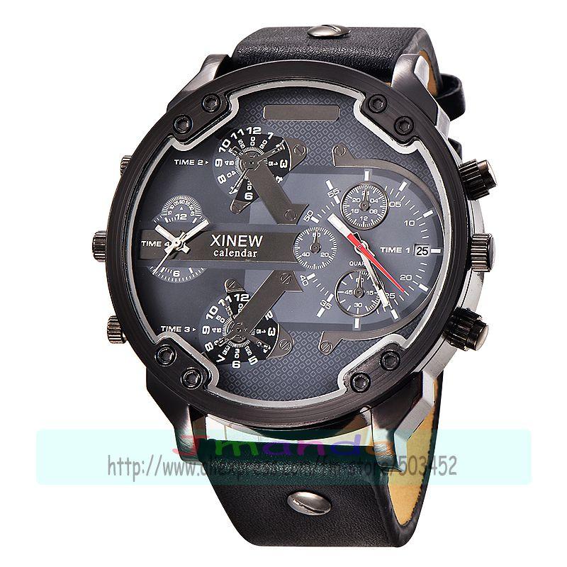 30 sztuk/partia xinew 5918 new arrival wysokiej jakości skórzany zegarek duża tarcza okrągła kalendarz mężczyzna zegarek kwarcowy hurtownie zegarek z datownikiem w Zegarki kwarcowe od Zegarki na  Grupa 3