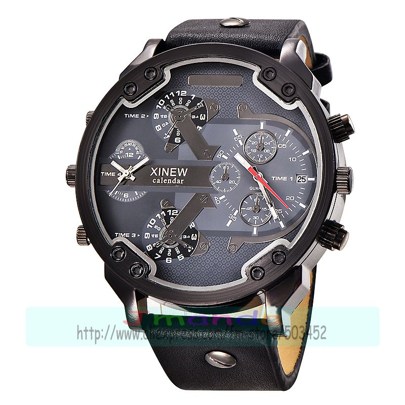 30pcs/lot xinew 5918 new arrival high quality leather watch big round dial calendar man quartz wristwatch wholesale date watch-in Quartz Watches from Watches    3