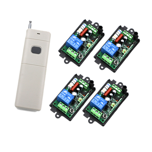 Free Shipping! New AC110V 220V 433MHz Remote Control Switch 4 Receiver with 1-Button Long Range Remote Control SKU: 5215