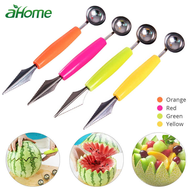 Double Heads Melon Scoops Fruits Spoons  Ballers Corers Garnishes Fruits Tools Kitchen Tools Set Fruits Cutter Knife