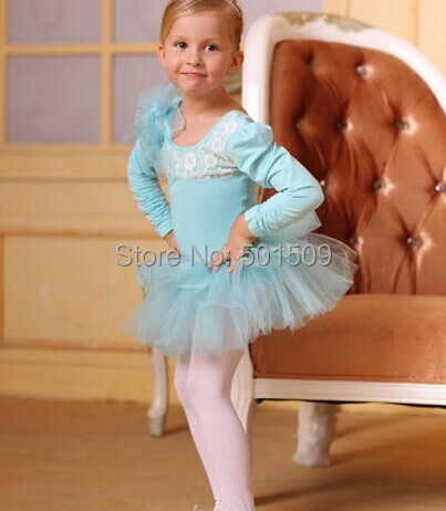 Free ship girls childrens light blue lace embroidery ballet leotard princess tutu dress fairy tale dress dress ball gown
