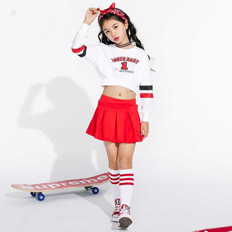 e471eaec6e6 Jazz Dance Costumes For Girls Cheerleading Costume Children Hip Hop Kids  Street Dance Clothing Long Sleeve Red Skirts DN1739