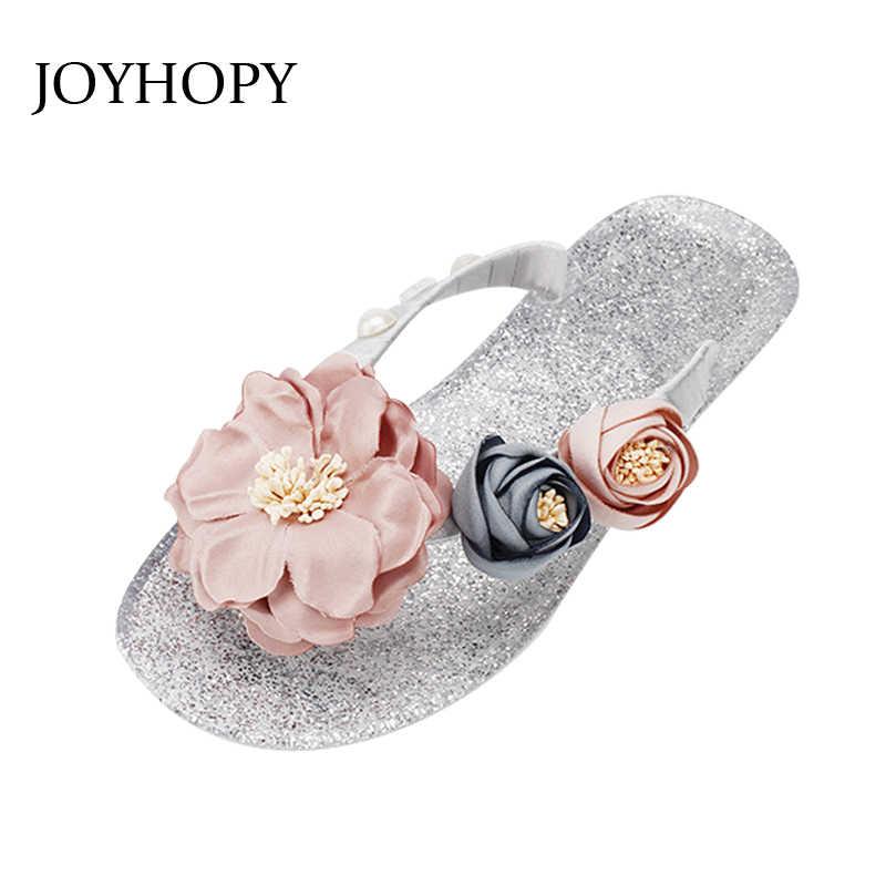 67fc02480122a JOYHOPY Fashion Jelly Slippers Soft Bottom Women Flower Flip Flops Vacation  Beach Crystal Flat Shoes Girls
