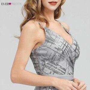Image 5 - Immer Ziemlich Grau Pailletten Abendkleider Lange V ausschnitt Side Split Sexy Sparkle Formale Party Kleider EP07957GY Abiye Gece Elbisesi