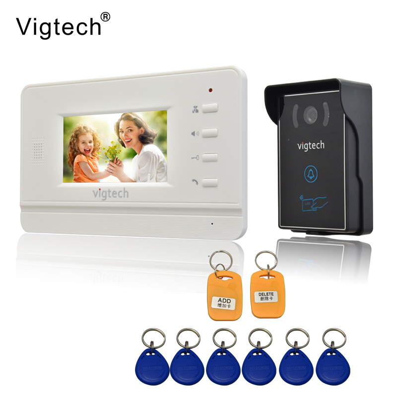 Vigtech Home 4.3`` LCD Video Door Phone intercom System Kit 700TVL RFID Waterproof IR Night vision Camera free shipping vigtech home 7 lcd video door phone intercom system kit 700tvl rfid waterproof ir night vision camera free shipping