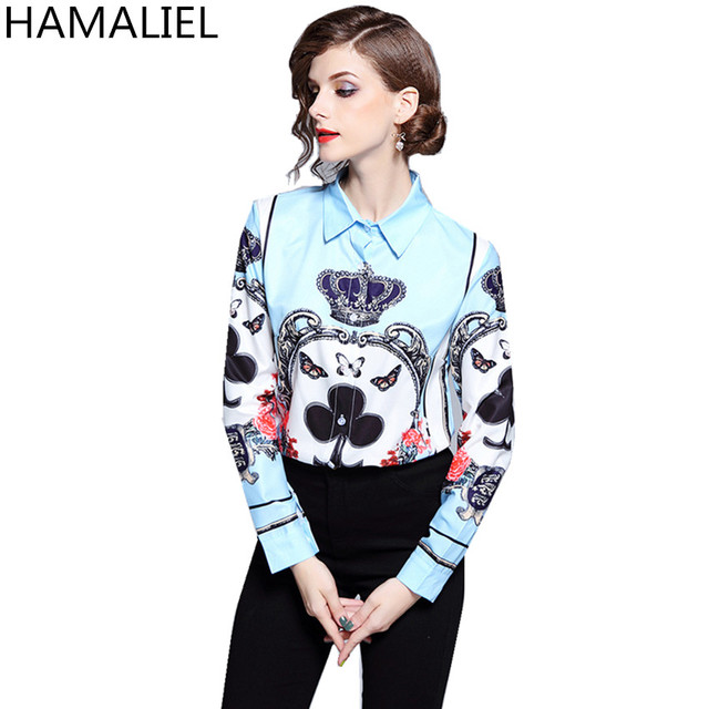 df348d05b74782 Europe Style Summer Women Shirt 2018 Vintage Baroque Print Flower Poplin  Long Sleeve Female Business Turn Down Collar Blouse Top