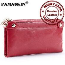 Lange Frauen Organizer Wallets 100% Luxus Öl Wachs Echtem Leder Große Kapazität Weibliche Reißverschluss Kupplung Geldbörsen Damen Karte Brieftaschen