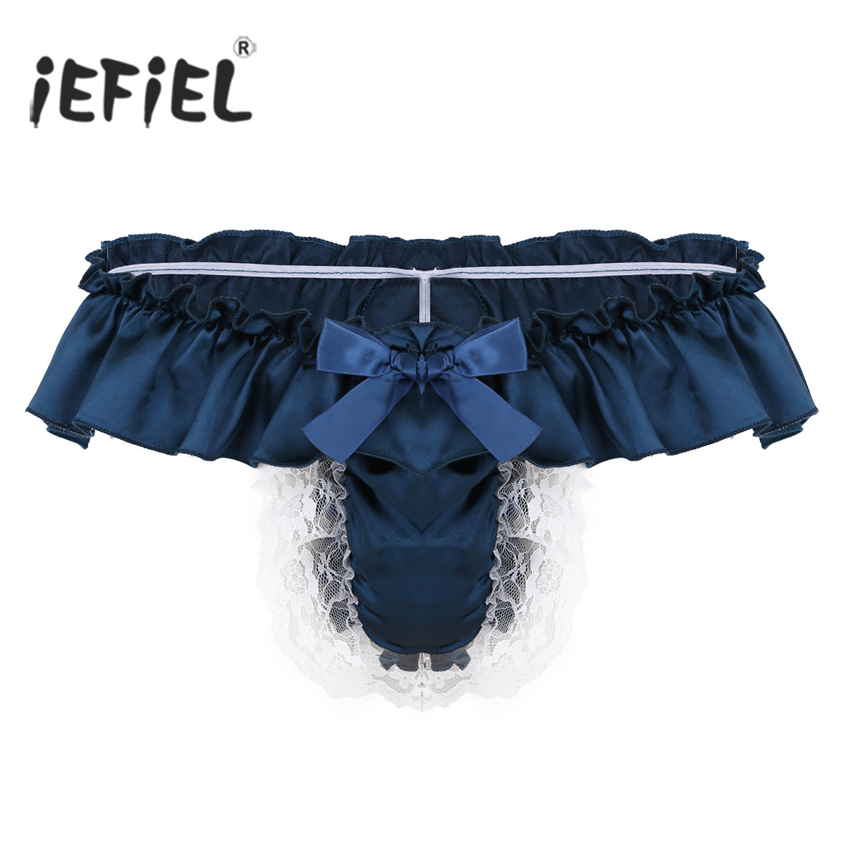 90f015916037 iEFiEL Mens Soft Shiny Satin Frilly Sissy Skirted Novetly G-String Thong  Brief Underwear Panties Exotic Apparel