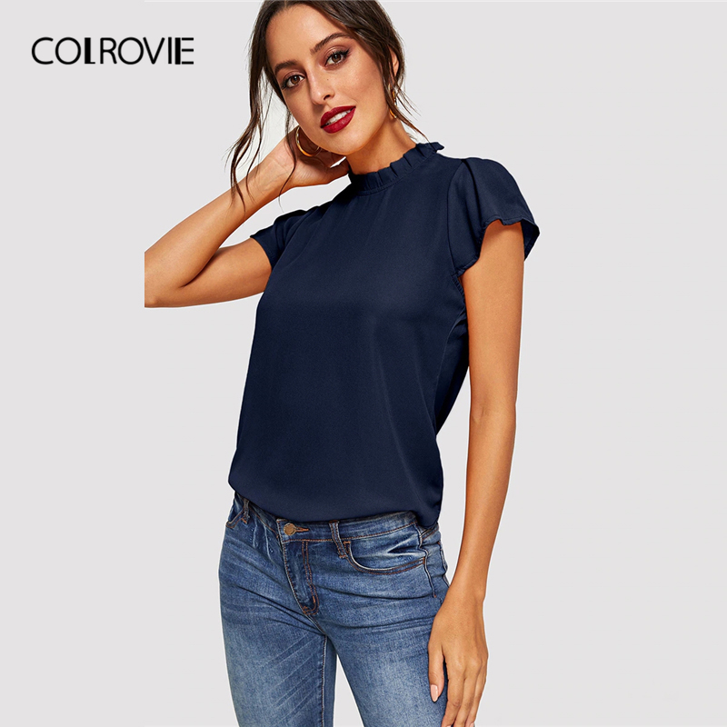 COLROVIE Navy Solid Stand Collar Keyhole Back Frilled Elegant Blouse Shirts Women 2019 Summer Cap Sleeve Casual Office Lady Tops