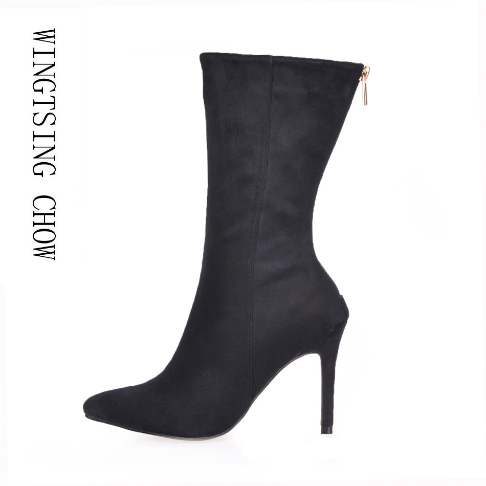 2016 Winter Black Suede Sexy Party Shoes Women Stiletto High Heels Mature Elegant Lady Mid-Calf Boots Zapatos Mujer  70887BT-e1 women wedding shoes suede pump high heels ol lady office shoes pointy chic court stiletto candy color party classic shoes