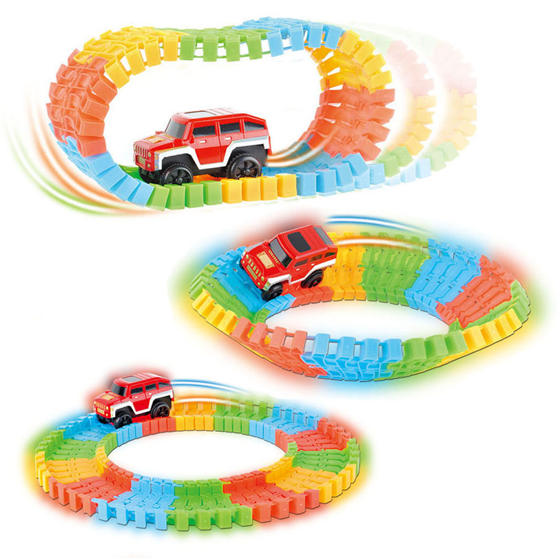 Diecast DIY Puzzle Toy Roller Coaster Track Electronics Assembly Building Block Car Rail Car Toys for Children Random Color diy puzzle kid colorful plastic race track led car children assembly toy bend flex glow rails racing roller coaster toys