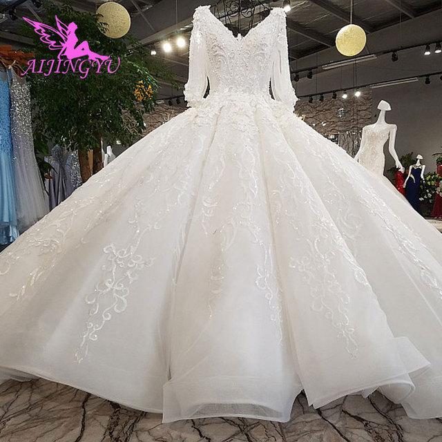 AIJINGYU חתונה שמלת 2021 2020 Luxuris שמלות בריטניה גואנגזו גותי שמלות למעלה שמלת כלה