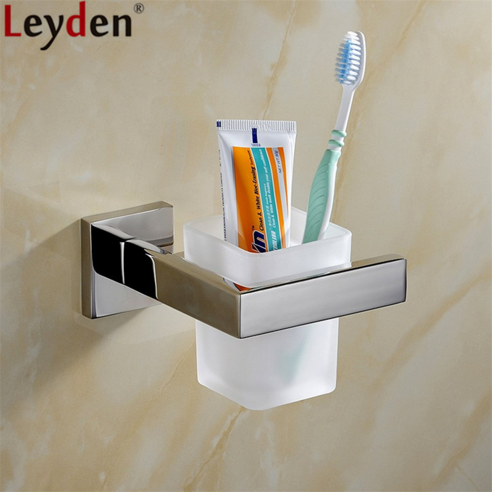 Leyden Chrome Stainless Steel Single Toothbrush Holder With Glass Toothcup Wall Mounted Toothcup Holder Bathroom Accessories image