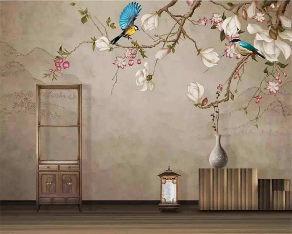Beibehang Custom Wallpaper Mural Hd Bird Magnolia Tv Background Wall Wallpaper Painting Papel De Parede Wall Paper Home Decor Wallpapers Aliexpress