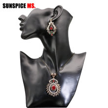 SUNSPICE MS Indian Ethnic Wedding Jewelry Sets Flower Dangle Earrings Pendant Necklace Antique Gold Color Turkish Festival Gifts(China)