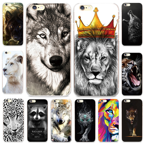 Cool Animal White Lion Wolf Pattern Case for iPhone 4 4S SE 5 5S 5C 6 6S 7 Plus 8 8Plus X Cover Capinha