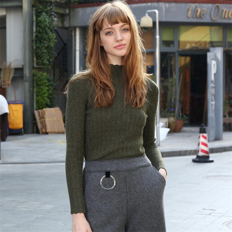 Moda Elegante Delgado Salvaje Suéter Prendas de Punto Mujer Casual Semi-Cuello a