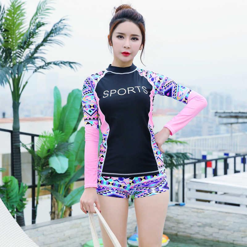 2018 Lengan Panjang K Berlaku Wanita Surfing Pakaian Ruam Penjaga Baju Renang Dua Olahraga Celana Pakaian Renang Selancar Angin Baju