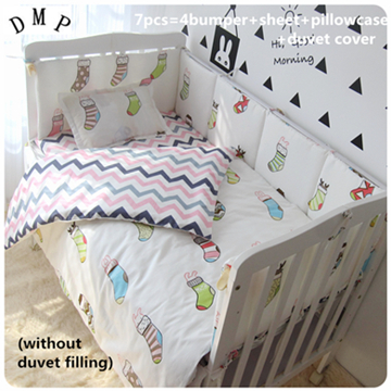 Promotion! 6/7PCS Cotton Pink Baby Bedding Set Cartoon Crib Bedding Set for Girls,120*60/120*70cm