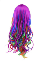 Rainbow Colorful Curly Women Wigs Synthetic High Temperature Fiber Fake Hair