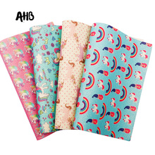 AHB Synthetic Leather Glitter Printed Unicorn Shiny Fabric Faux Leather Sheets DIY Hair Bows Fabric Handmade Crafts Materials цена и фото